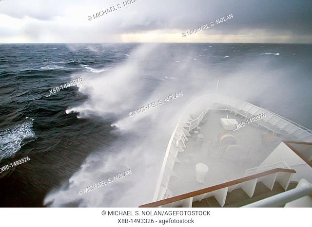 The Lindblad Expedition ship National Geographic Explorer in heavy seas on expedition in Antarctica MORE INFO Lindblad Expeditions pioneered Antarctic travel in...