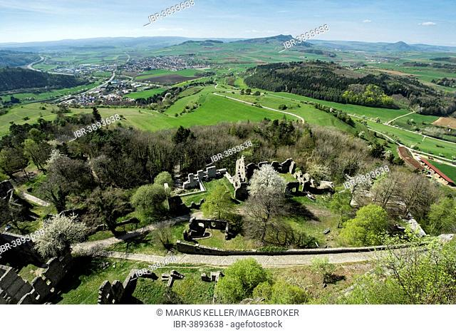 View to the lower Hohentwiel fortress ruins in the Hegau landscape, Mt Hohenstoffeln on the horizon, Baden-Württemberg, Germany