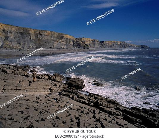 A man standing on the shore of the South Coast with Liassic Limestone cliffs, near Bridgend
