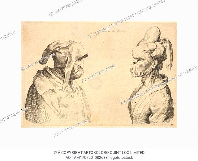 Two deformed heads facing each other, 1625–77, Etching and engraving; second state of two, Sheet: 3 3/4 × 5 1/2 in. (9