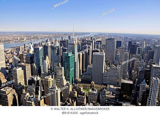 Times Square and Midtown, picture taken from the Empire State Building, looking northwards, Manhattan, New York City, USA
