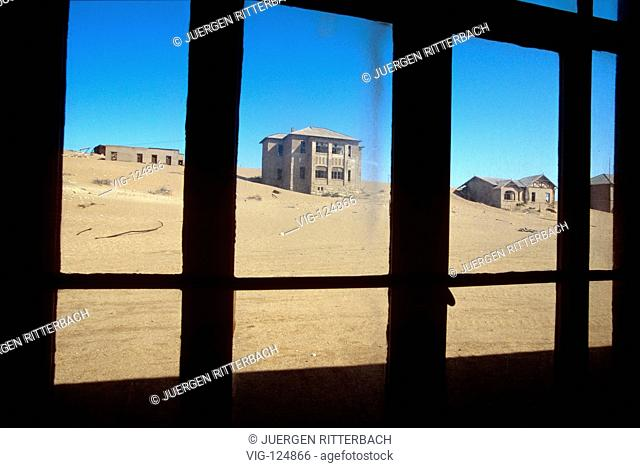 Africa, Namibia, Luederitz, view from window on ghost town Kolmannskuppe in diamonds no-go area, former town of diamonds searchers - KOLMANNSKUPPE, LUEDERITZ