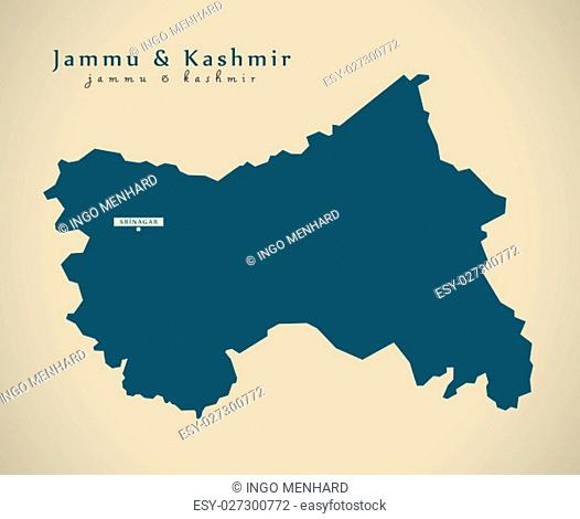 Modern Map - Jammu and Kashmir IN India federal state illustration silhouette