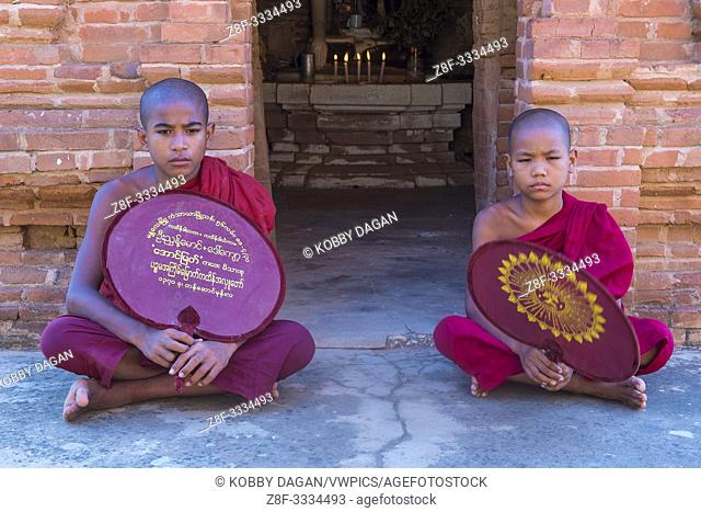 Novice monks in bagan Myanmar