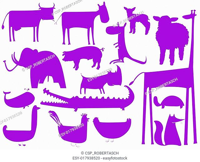 animal purple silhouettes isolated on white background