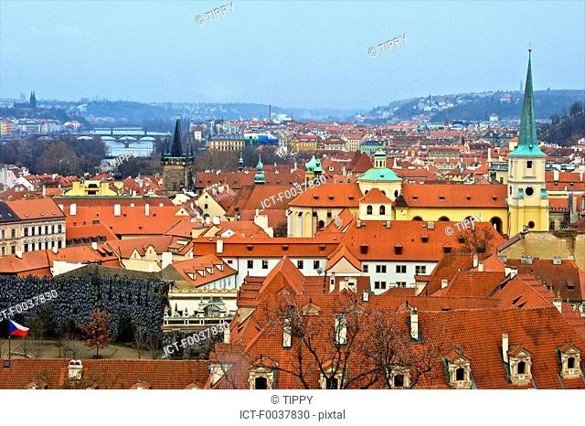 Czech Republic, Prague, roofs and garden of Wallenstein