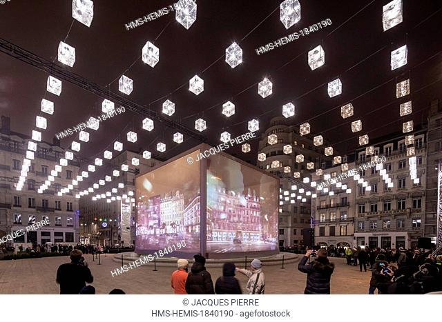 France, Rhone, Lyon, historical site listed as World Heritage by UNESCO, the Fete des Lumieres (Light Festival), entertainment Show Case of the city of Lyon...