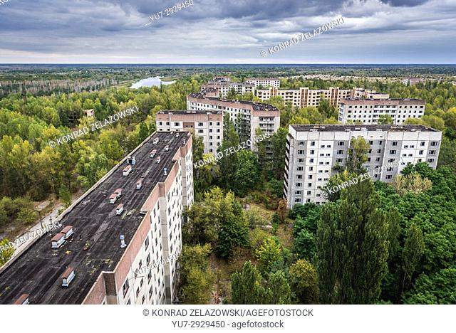 Residential buildings in Pripyat ghost city of Chernobyl Nuclear Power Plant Zone of Alienation around nuclear reactor disaster in Ukraine