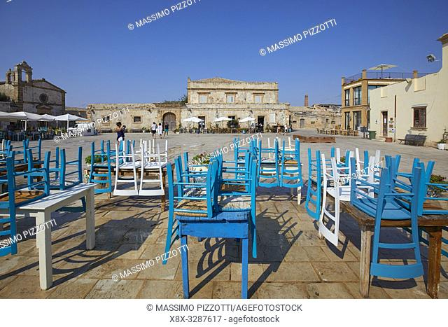 The main square of the historic village Marzamemi, Province of Syracuse, Sicily, Italy