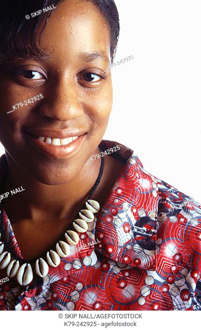 Young Black Woman Smiling with Neclace