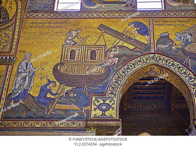 South wall mosaics depicting the bibliacl story of Noah in the Norman-Byzantine medieval cathedral of Monreale, province of Palermo, Sicily, Italy