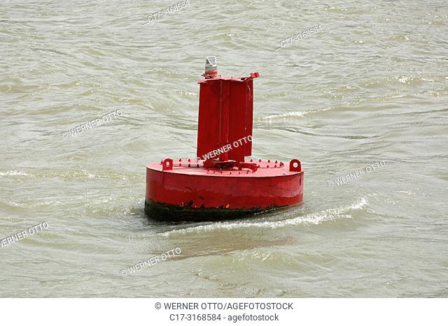 Maliuc, Vulturu, shipping sign, buoyage, maritime buoyage system A in Europe, coming from sea the red buoy is located left in the fairway on the port side