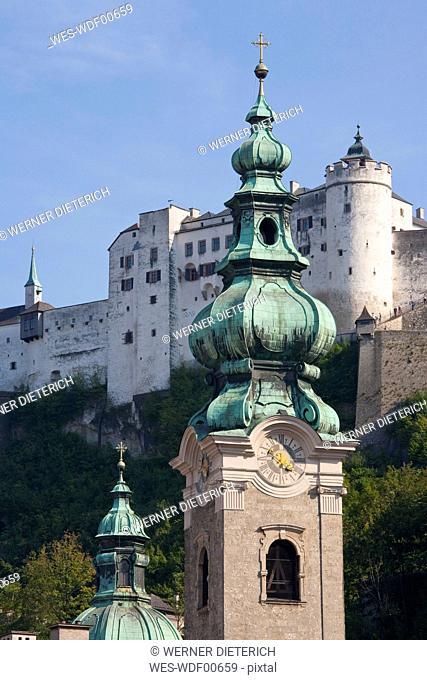 Austria, Salzburg, Abbey of St. Peter, Fortress Hohensalzburg in background