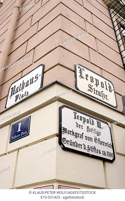 Signs at the city hall at the corner Rathausplatz and Leopoldsteet in Klosterneuburg near Vienna. Austria