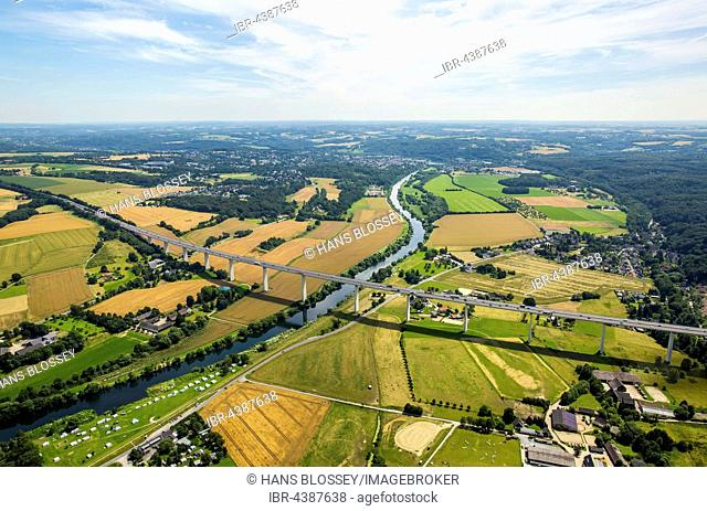 Aerial photograph, Ruhr district, Ruhr valley, Ruhr floodplains, Ruhrtalbrücke, motorway bridge, A52, Mülheim an der Ruhr, Ruhr district, North Rhine-Westphalia