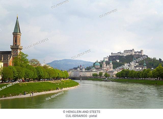 Chritus church, Salzach river, Kollegien Church, Salzburg cathedral, Hohensalzburg castle, Salzburg, Austria