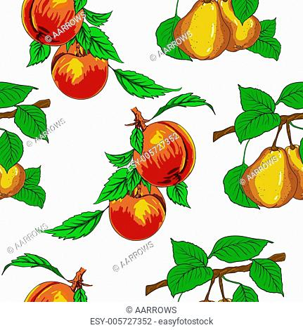 Seamless wallpaper with peaches and pears
