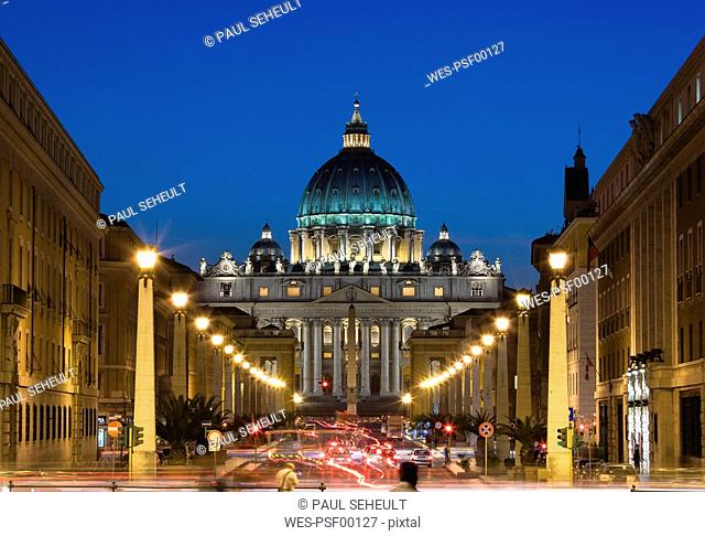 Italy, Rome, Vatican City, Traffic at night, Basilica of Saint Peter in background
