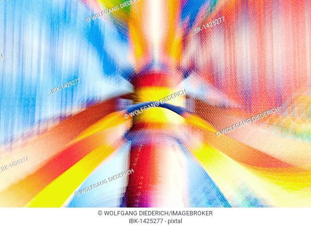 Acrylic painting on beacon lights, blurred, artist Gerhard Kraus, Kriftel