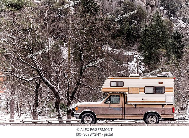 Campervan parked in Yosemite National Park, California, USA