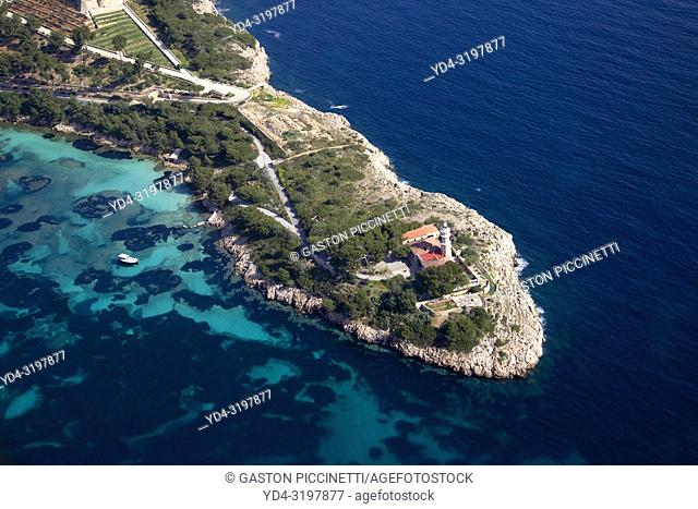 Aerial view of the north coast of the island of mallorca, Balearic Island, Spain.