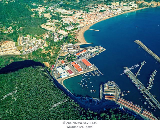 Aerial View of Sesimbra Town and Port