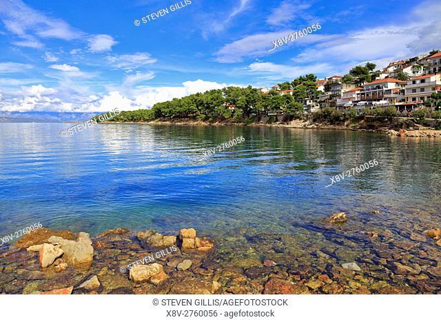 Jelsa inlet and distant Biokovo mountain range, Hvar Island, Croatia, Dalmatia, Dalmatian Coast, Europe