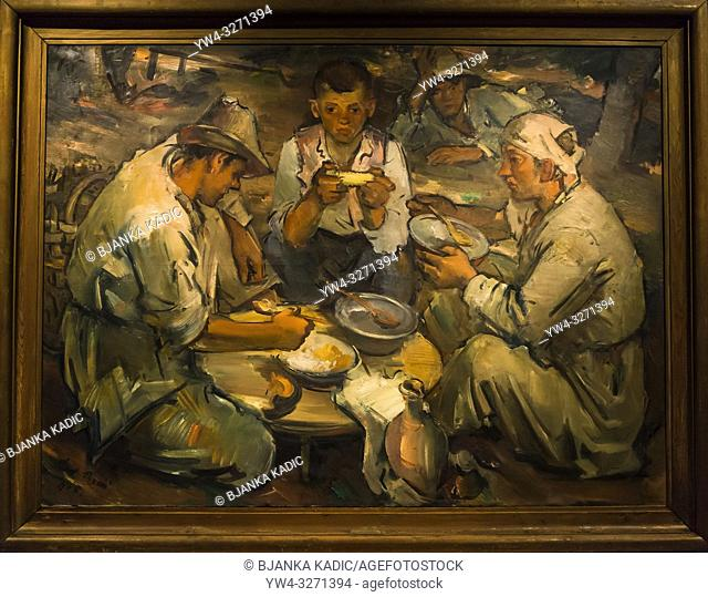 Painting 'Peasants having lunch', 1935, Vladimir Becic retrospective exhibition, Klovicevi Dvori Gallery, Upper Town, Zagreb, Croatia