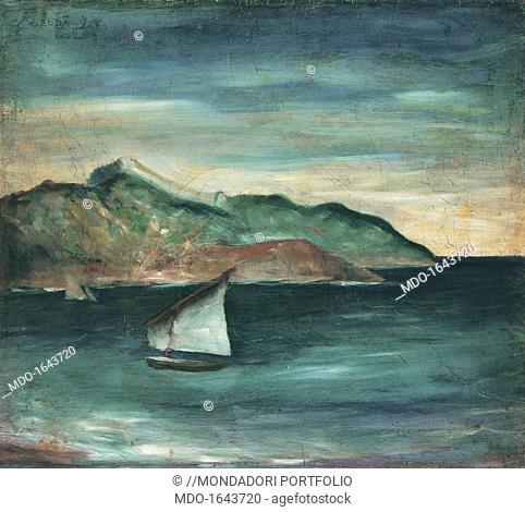 Moneglia Seascape (Marina a Moneglia), by Carlo Carrà, 1921, oil on canvas. Private collection. Whole artwork view. Two boats in the ligurian sea near Moneglia