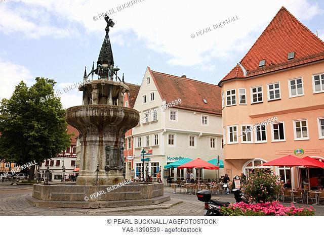 Nördlingen, Bavaria, Germany, Europe  Fountain in town square in medieval Altstadt on the Romantic Road Romantische Strasse