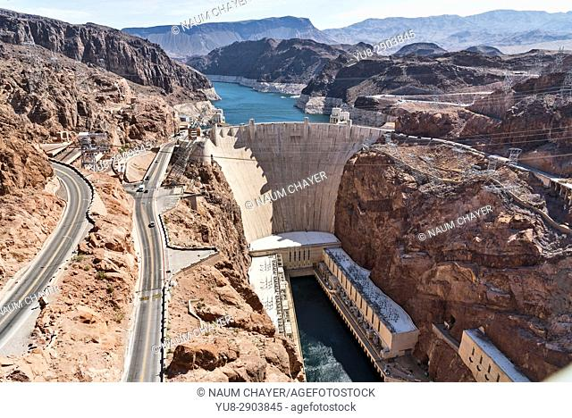 Hoover Dam from the bridge, Nevada, Arizona, USA