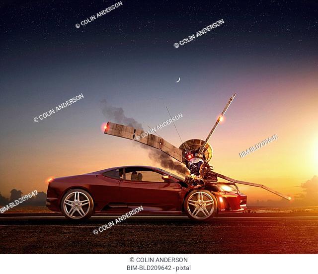 Satellite falling on car