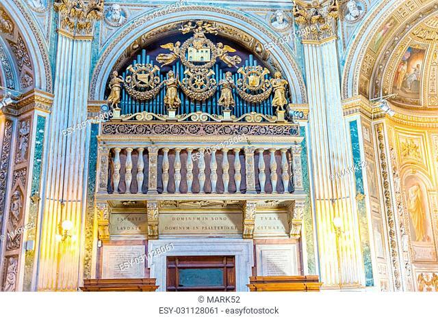 Rome, Italy - September 3, 2014: Organs inside the Church of Santa Maria di Loreto in Rome
