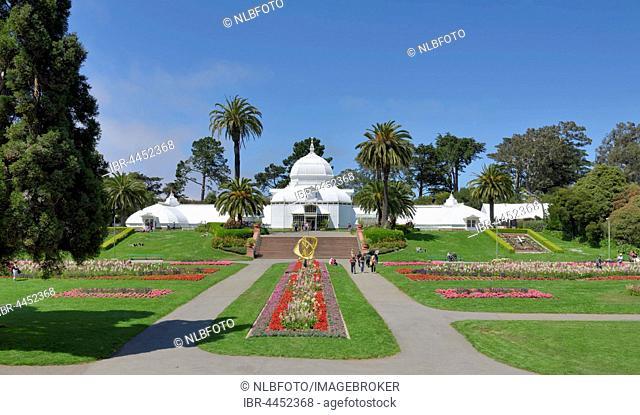 Flowerbeds, Conservatory of Flowers, Golden Gate Park, San Francisco, California, USA