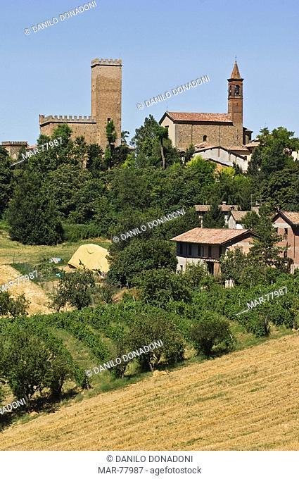 castle and village, nazzano, italy