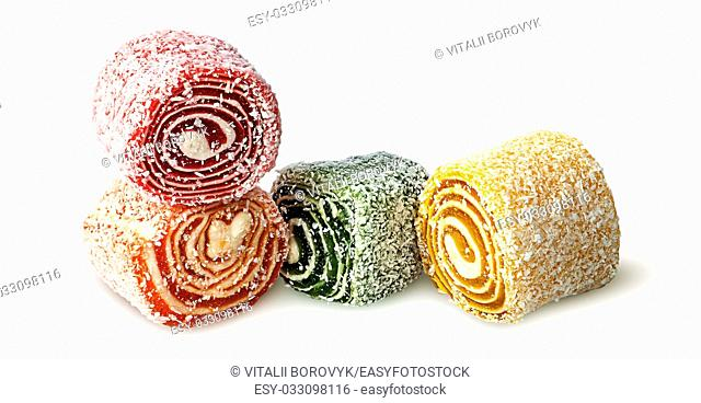 Several pieces of Turkish Delight isolated on white background