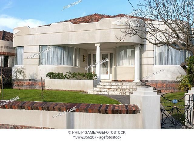 Streamline moderne (art deco) style home in a Melbourne suburb, dating around 1940