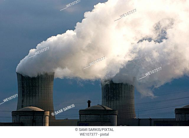 Smoke chimneys of Tricastin Nuclear Power Plant, Drome, France