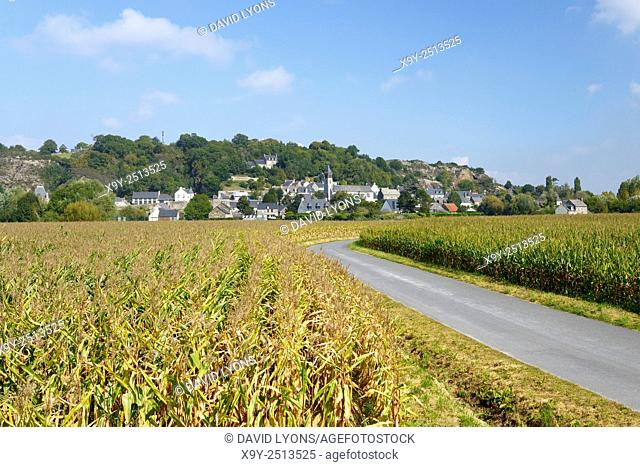 East over cornfields to granite hill and village of Mont Dol. Near Saint Malo and town of Dol-de-Bretagne, Brittany, France