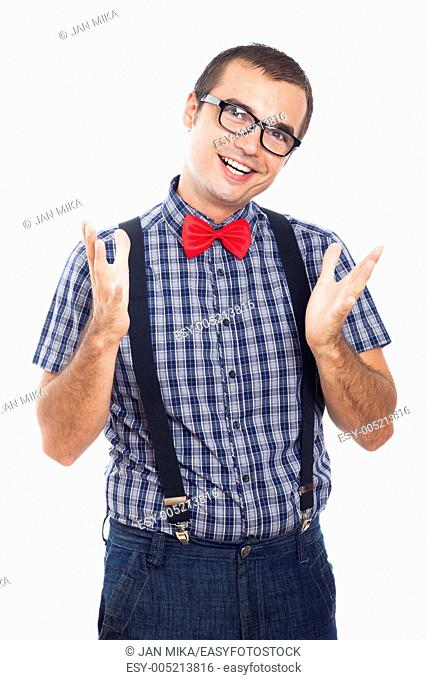 Portrait of happy geek man gesturing, isolated on white background