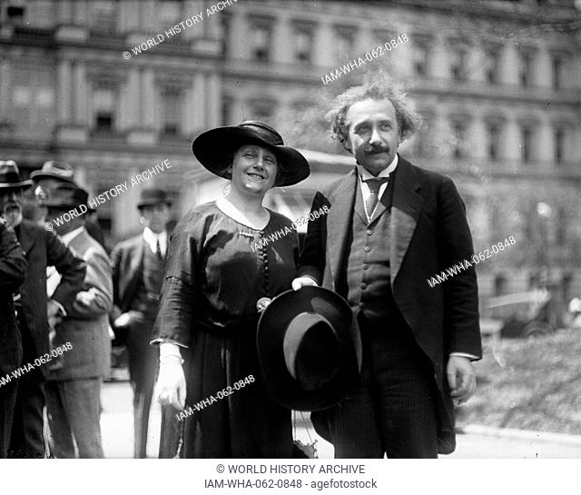 Albert Einstein with his wife Elsa, State, War, and Navy building in background, Washington DC. Photographer Harris and Ewing. 1921 and 1923