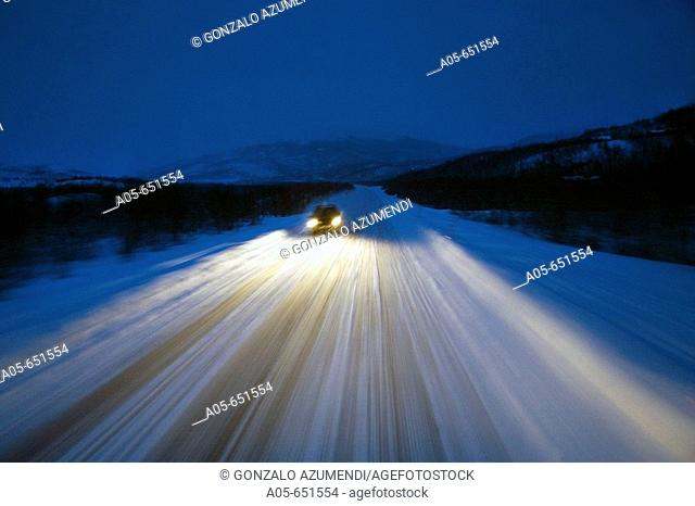 Road from Alta to Nordkapp (North Cape) near Skaidi. Finnmark. Lapland. Norway
