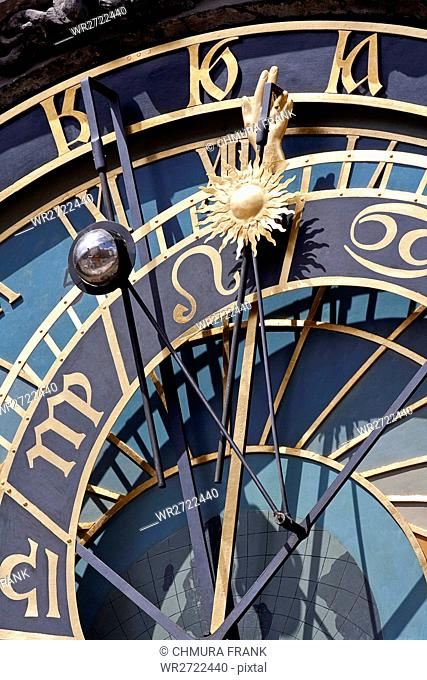 detail of astronomical clock of old town hall, old town square, prague