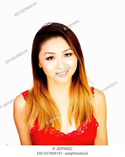 Asian American Woman Uncertain Expression Red Top