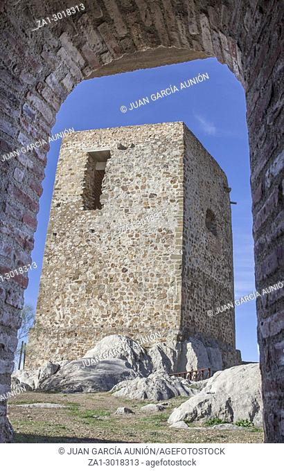 Castle of Belmez Tower of homage, Cordoba, Spain. Situated on the high rocky hill overlooking town of Belmez