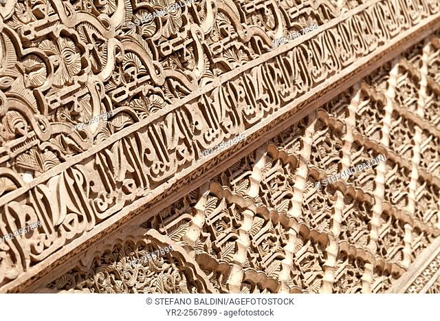 Carved panel detail at the saadian tombs, Marrakech, Morocco