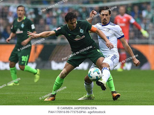 Bremen's Thomas Delaney (L) and Schalke's Benjamin Stambouli vie for the ball during the German Bundesliga soccer match between Werder Bremen and FC Schalke 04...