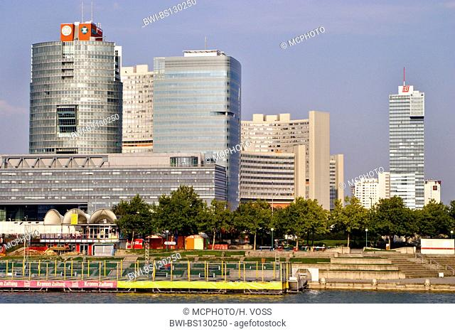 modern high-rise buildings in Donau City, Austria Center Vienna and UNO City, Austria, Vienna