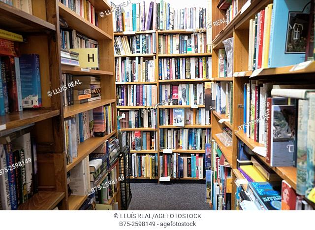 Interior of an Old Book Shop with shelves full of old books. England, UK, Europe