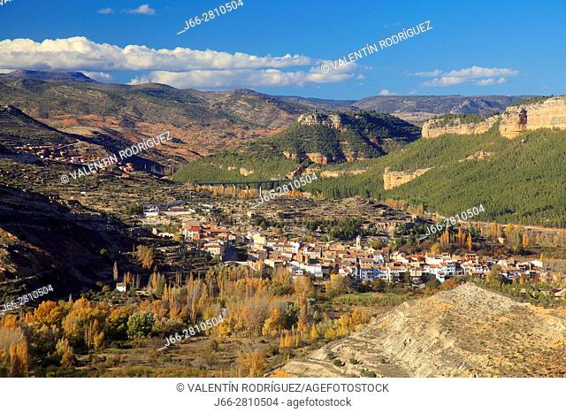 View of the village Casas Altas in the Ademuz region. Valencia